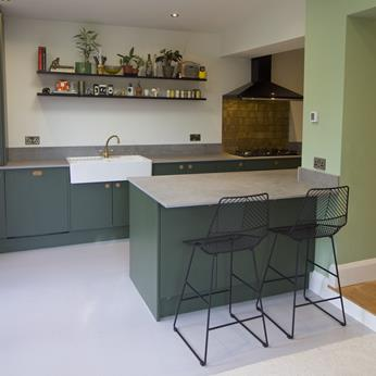 Dark Green Bespoke Oak Handle Kitchen by Fine Finish Kitchens & Bedrooms | Nottingham