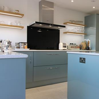 Bespoke, acrylic kitchen installed by Fine Finish Furniture - Nottingham, Derbyshire and Leicestershire